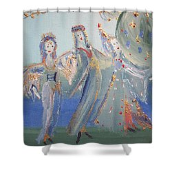 Shower Curtain featuring the painting Medieval Maids by Judith Desrosiers