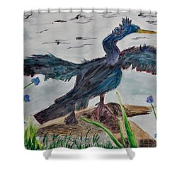 Anhinga-drying Out Shower Curtain by Mickey Krause