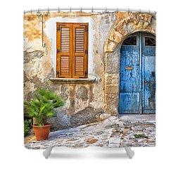 Mediterranean Door Window And Vase Shower Curtain by Silvia Ganora