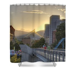 Meeting Bridges Shower Curtain by David Troxel