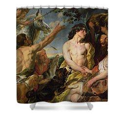 Meleager And Atalanta Shower Curtain by Jacob Jordaens