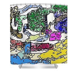 Shower Curtain featuring the digital art Melting Troubles by Alec Drake