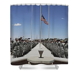 Members Of Team Holloman Stand Shower Curtain by Stocktrek Images
