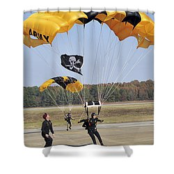 Members Of The Golden Knights Parachute Shower Curtain by Stocktrek Images