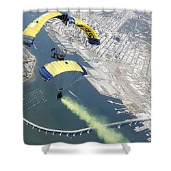 Members Of The U.s. Navy Parachute Team Shower Curtain by Stocktrek Images