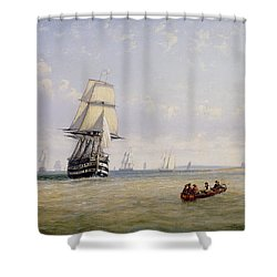 Meno War Schooners And Royal Navy Yachts Shower Curtain by Claude T Stanfield Moore