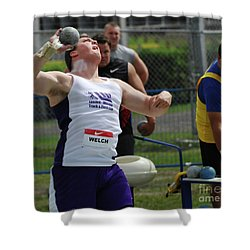 Mens Shotput Shower Curtain by Bob Christopher