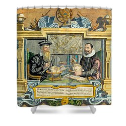 Mercator And Hondius Shower Curtain by Science Source