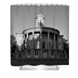 Merchant Exchange Building - Philadelphia In Black And White Shower Curtain by Bill Cannon