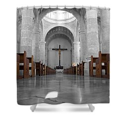 Shower Curtain featuring the photograph Merida Mexico Cathedral Interior Color Splash Black And White by Shawn O'Brien