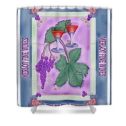 Merlot Fine Wines Orchard Box Label Shower Curtain by Anne Norskog