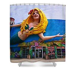 Mermaid Building Shower Curtain by Garry Gay