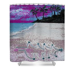 Merry Beachy Christmas Shower Curtain
