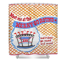 Shower Curtain featuring the painting Merry Go Round by Beth Saffer