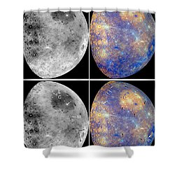 Messenger Image Of Mercury Shower Curtain by Nasa