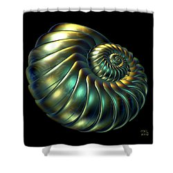 Shower Curtain featuring the digital art Metallic Nautiloid by Manny Lorenzo