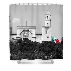 Shower Curtain featuring the photograph Mexico Flag On Merida Cathedral San Ildefonso Town Square Color Splash Black And White by Shawn O'Brien