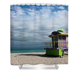 Miami 12th Street Beach  Shower Curtain by Barbara McMahon