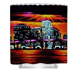 Miami By Black Light Shower Curtain by Thomas Kolendra