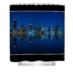 Miami Skyline Night Panorama Shower Curtain by Carsten Reisinger