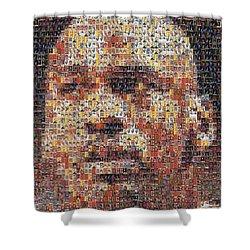 Michael Jordan Card Mosaic 3 Shower Curtain by Paul Van Scott