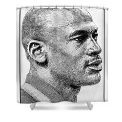 Shower Curtain featuring the drawing Michael Jordan In 1990 by J McCombie