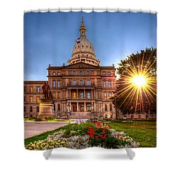 Shower Curtain featuring the photograph Michigan Capitol - Hdr - 2 by Larry Carr