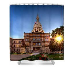 Shower Curtain featuring the photograph Michigan Capitol - Hdr-1 by Larry Carr