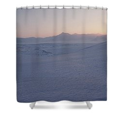 Midnight Sun Hovers Above Polar Shower Curtain by Gordon Wiltsie