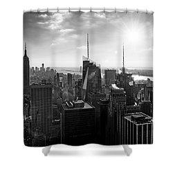 Midtown Skyline Infrared Shower Curtain