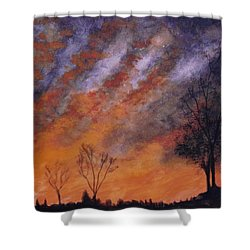 Shower Curtain featuring the painting Midwest Sunset by Stacy C Bottoms
