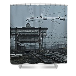 Shower Curtain featuring the photograph Milan Central Station Italy In The Fog by Andy Prendy