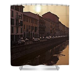 Milan Naviglio Grande Shower Curtain by Joana Kruse
