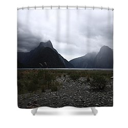 Milford Sound Shower Curtain by Pixel Chimp