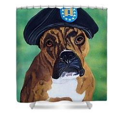 Military Boxer Shower Curtain by Debbie LaFrance