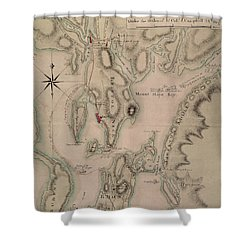 Military Plan Of The North Part Of Rhode Island Shower Curtain by English School