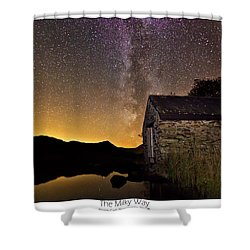 Shower Curtain featuring the photograph Milky Way Above The Old Boathouse by Beverly Cash