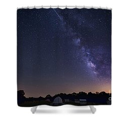 Milky Way And Perseid Meteor Shower Shower Curtain by John Davis