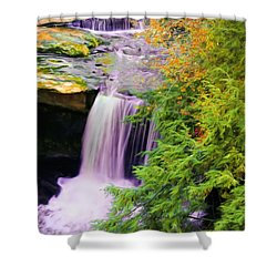 Shower Curtain featuring the painting Mill Creek Waterfall by Michelle Joseph-Long