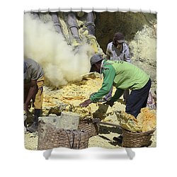 Miners Collecting Lumps Of Sulphur Shower Curtain by Richard Roscoe