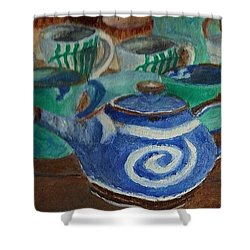 Miniature Teapots And Cups Shower Curtain by Christy Saunders Church