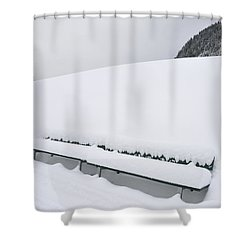 Minimalist Winter Landscape With Lots Of Snow Shower Curtain by Matthias Hauser