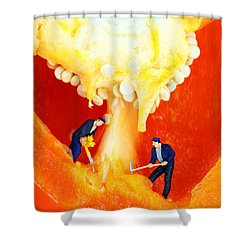 Mining In Colorful Peppers II Shower Curtain by Paul Ge