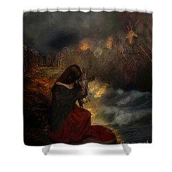 Miserere Shower Curtain by Lianne Schneider