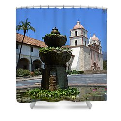 Mission Fountain Shower Curtain by Methune Hively
