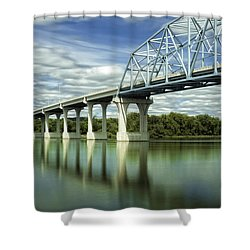 Shower Curtain featuring the photograph Mississippi River At Wabasha Minnesota by Tom Gort