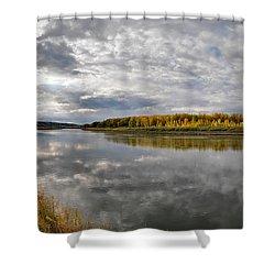 Missouri River Autumn Panoramic Shower Curtain by Leland D Howard