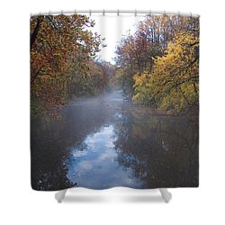 Mist Along The Wissahickon Shower Curtain by Bill Cannon