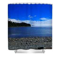 Mist On The Sea At Jordan River Shower Curtain by Louise Heusinkveld