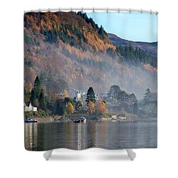 Shower Curtain featuring the photograph Misty Autumn Morning by Lynn Bolt